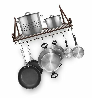Sorbus Decorative Wall Mount Pot Rack with Hooks Bronze