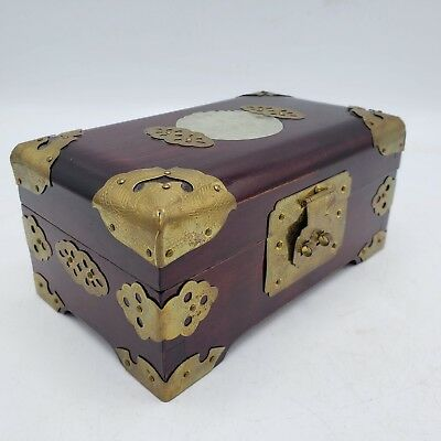 Vintage Chinese Asian Rosewood / Wood Box w/ Jade Inserts ~ 6.5""
