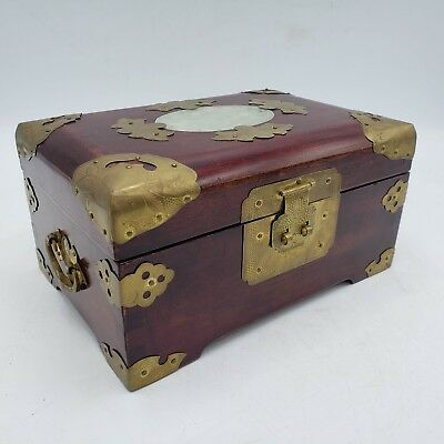 Vintage Chinese Asian Rosewood / Wood Box w/ Jade Inserts ~ 8""