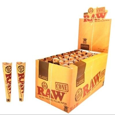 6 Packs X 3 = 18 Pcs RAW Classic Hemp King Size Pre Rolled Cones Rolling Paper