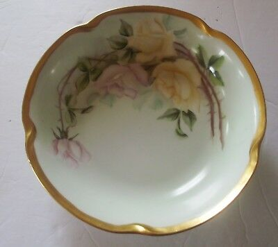 Antique J & C 1911 Hand Painted Bowl Pink Yellow Roses Gold Trim Louise Germany