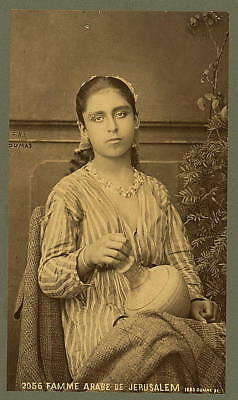 Photo:Famme Arabe de Jerusalem,1889,Young Arab woman,holding pottery jar