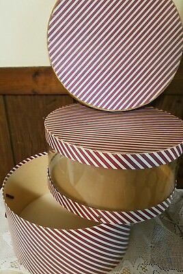 Vintage Large Nesting Hat Boxes Maroon White Gold Striped/Clear Insert Stacking