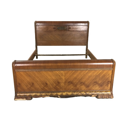 Gastonia, NC | Art Deco Waterfall Full Size Bed Frame | Burled Walnut | Antique