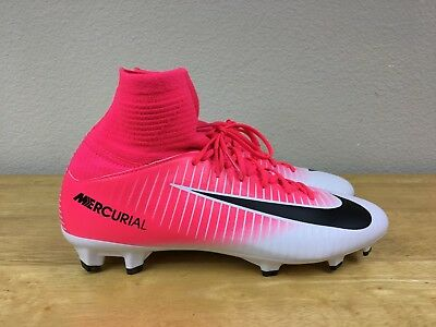 5706a27d7ae2 Nike Mercurial Superfly V FG Jr Soccer Cleats Boots White/Pink 831943-601 Sz