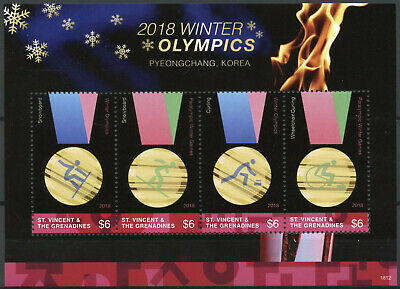 St Vincent & Grenadines 2018 MNH Winter Olympics PyeongChang 4v M/S II Stamps
