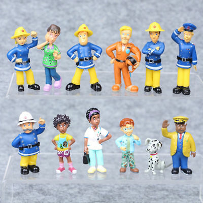 12pcs Fireman Sam Action Figure Cartoon Doll Set Kids Baby Boy Girl Toy Gifts