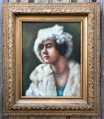 Antique Original Oil Portrait Painting Young Woman Framed Signed A.K. Walters
