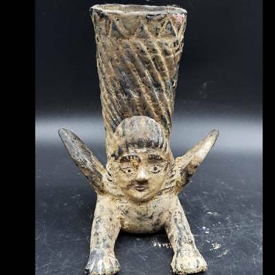 Very Old Rare Found Mosaic Glass Rhyton in Form of Female Angel  #