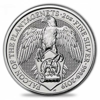 Queen's Beasts - Falcon of Plantagenets - 2 Oz Silber 2019 - Falke