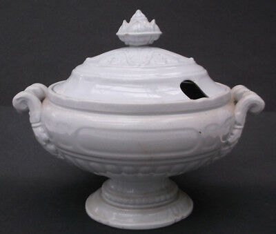 Antique T. J. & J. Mayer White  Ironstone China COVERED TUREEN Prize Medal 1851
