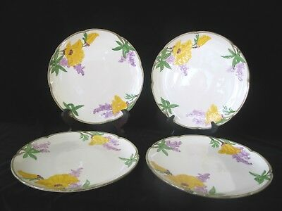 "FRANCISCAN Yellow POPPY Purple FLOWER Vintage 10"" Dinner Plate Set of 4"