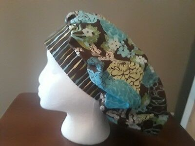 Brown and Turquoise Flowers Women's Bouffant Surgical Scrub Hat/Cap Handmade