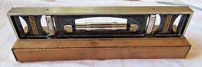 """Vintage STANLEY No. 36G - 12"""" Iron Level w/ Box - Grooved Bottom - U.S.A."""