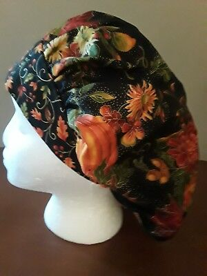 Pumkins and Mums Fall Women's Bouffant Surgical Scrub Hat/Cap Handmade