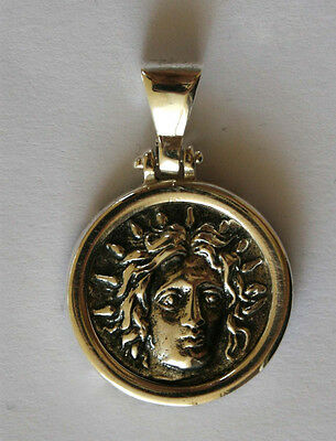 GOD APOLLO OF RHODES GREEK BIG COIN PENDANT SOLID sterling silver 925 code 1