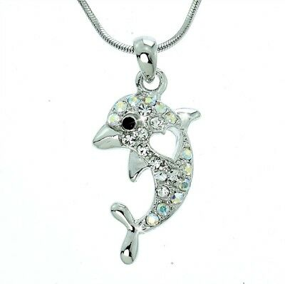 Dolphin Heart Necklace Made With Swarovski Crystal Ocean Love Pendant Chain Gift