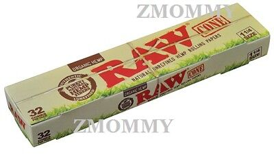 RAW Organic 1 1/4 Size Pre-Rolled Cones with Filter~32 Cones~New Box~