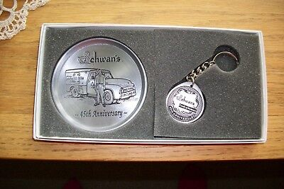 Vintage Schwan's Pewter 45Th Anniversary Coaster/key Chain Set