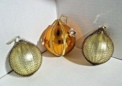 3 vintage wire wrapped glass Christmas ornaments
