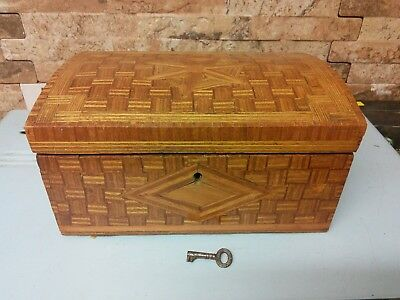 Antique Straw Inlayed Box + Key        Fabulous Condition