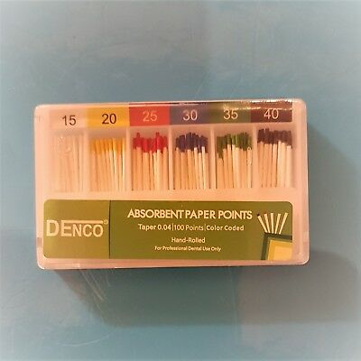 Dental Absorbent Paper Points 0.04 Tapered 100 pack Endo Points Colour Coded
