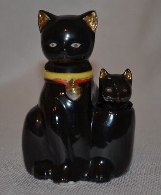 Vintage Kitty Cat Black Nodder Salt and Pepper Shakers Made in Japan TT #Z