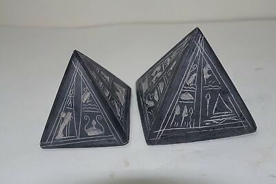 "LL21 ANCIENT EGYPT REPRODUCTION pr BLACK PYRAMID PAPERWEIGHTS 2 & 2 1/4"" TALL"