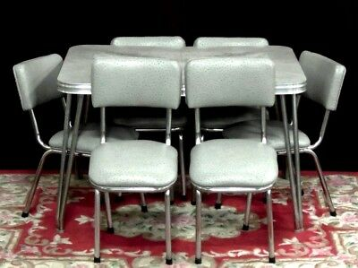 Vintage Chrome Dining  Table Six Chairs Leaf  NEW Ostrich  Fabric