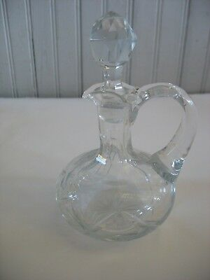Vintage Cut Glass Cruet or Decanter with stopper 4 1/2""