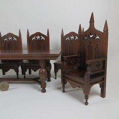 Miniature Dollhouse NICE Gothic Table, 5 Chairs & Throne   OOAK Artisan Made
