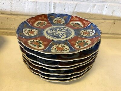 Antique Japanese Set of 7 Porcelain Imari Plate w/ Floral Dec. and Scalloped Rim