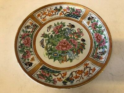 Antique Chinese Porcelain Famille Rose Plate w/ Floral Bird and Butterfly Dec