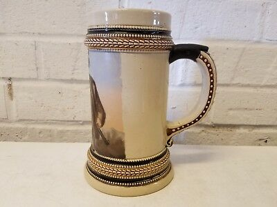 Vintage German Stoneware Beer Stein with Painted Hunter and Lady Scene