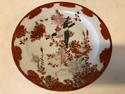 Antique Japanese Kutani Floral Decorative Hand Painted Red Bird Plate