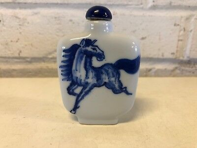 Vintage Chinese Glass Blue and White Snuff Bottle with Horse Decorations