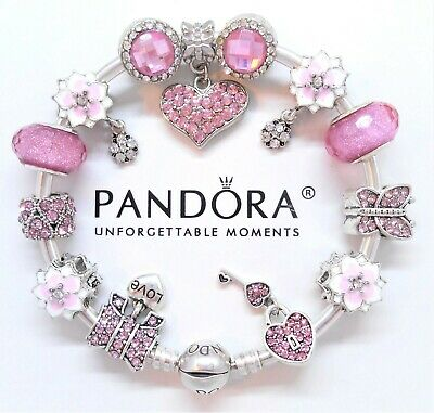 Authentic Pandora Silver Bangle Bracelet with Love Story European Charms