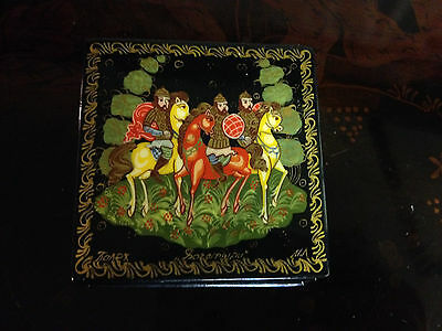 Likely Vtg Signed Russian Lacquered Box Possibly Palekh Troika Horse Decoration