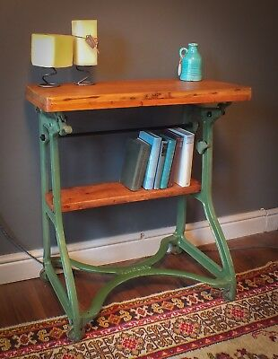 vintage industrial table, cast iron side hall table desk upcycled, trestle table