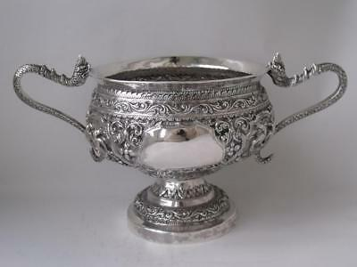 Decorative Antique Indian Solid Silver Bowl c. 1890/ Dia 11 cm/ 280 g/ UNMARKED