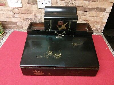 Antique , Vintage Japanese Inlayed Lacquered Writing Slope + Key