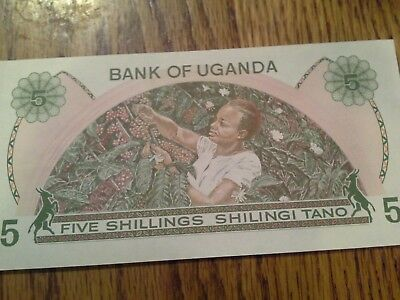 UGANDA 5 Shillings Banknotes World Paper Money Currency p15 Note 5/- Africa Bill