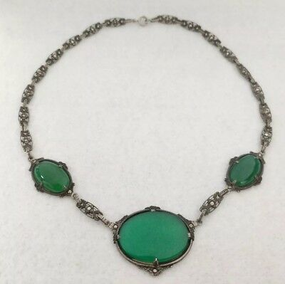 Antique Art Deco Sterling Silver Green Chrysoprase Marcasite Necklace