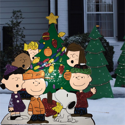 peanuts gang around tree yard art outdoor christmas decor - Peanuts Christmas Lawn Decorations