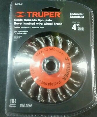 "Truper Catr-4E Bevel Knotted Wire Wheel Brush 4"" Standard 5/8"" Thread"