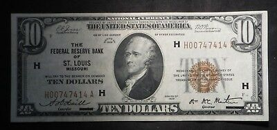 1929 Ten Dollar $10 Brown Seal National Currency- St Louis- AU
