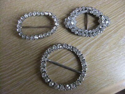 4 X Vintage Brass/silver Tone Belt Buckles Paste Stones (See All Pics For All 4