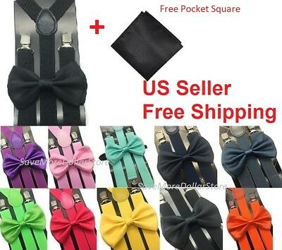 New Suspender Bow Tie and Pocket Square Hanky Set for Adults Men Women Teens