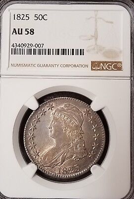 1825 Capped Bust Half Dollar - Ngc - Au 58 - Direct From Ngc Grading - #007
