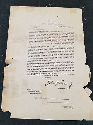 RARE WWI US Army General Pershing Letter to the Troops